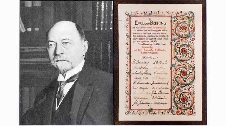 Emil von Behring mit erster Nobelpreisurkunde für Medizin