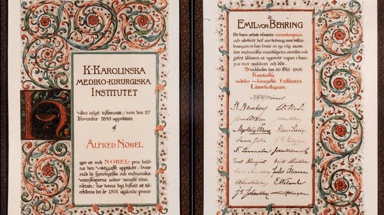 Nobelpreisurkunde von 1901 an Emil von Behring