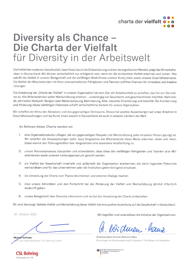Die Urkunde der Charta der Vielfalt
